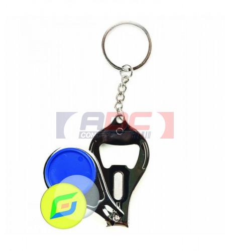 """Lot de 100 porte-clés métalliques """"CU-25R"""" coupe-ongles et décapsuleur - 6 couleurs"""