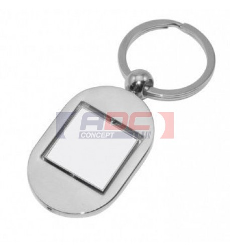 Porte-clé ovale 8,3 x 3,1 cm en métal argenté avec carré rotatif (vendu à l'unité)