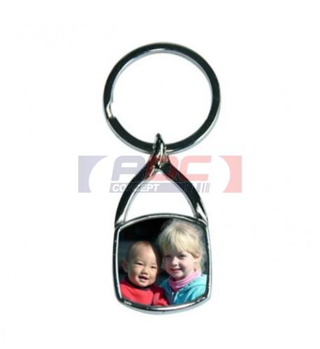 Porte-clé original carré en métal chromé avec plaque alu carré 24 x 23 mm (vendu à l'unité)