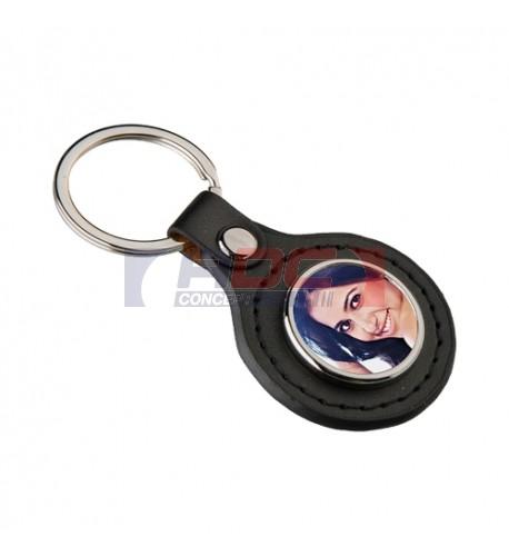 Porte-clé en métal et simili cuir rond avec plaque aluminium (vendu à l'unité)