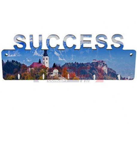 Panneau porte-clés mural SUCCESS MDF 27,5 x 10 cm avec 5 crochets (vendu à l'unité)