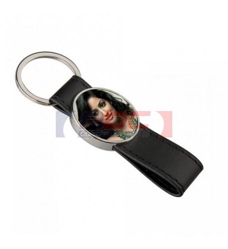 Porte-clé lanière en polyuréthane avec plaque aluminium ovale 2,7 x 3,1 cm (vendu à l'unité)