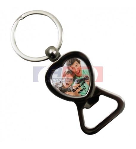 Porte-clé décapsuleur forme cœur hauteur 8,3 cm (vendu à l'unité)