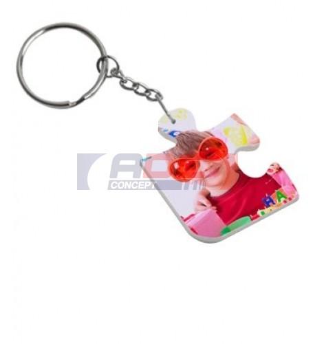 Porte-clé polymère blanc brillant puzzle 3,3 x 4,1 cm (vendu à l'unité)