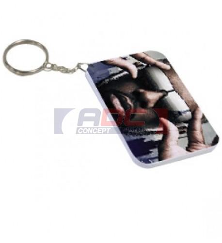 Porte-clé polymère blanc brillant Rectangle  4,8 x 6,8 cm (vendu à l'unité)