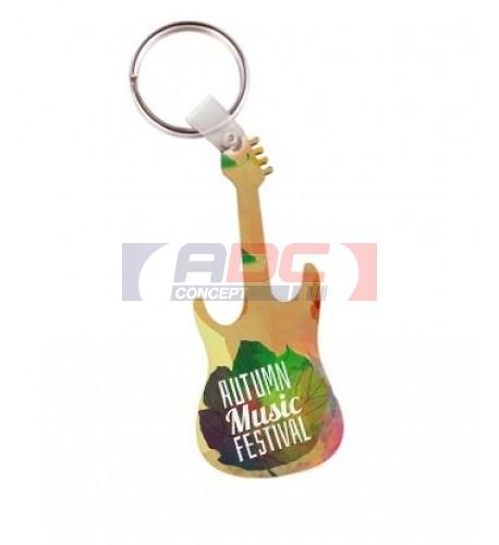 Porte-clé en MDF blanc brillant format guitare (vendu à l'unité)