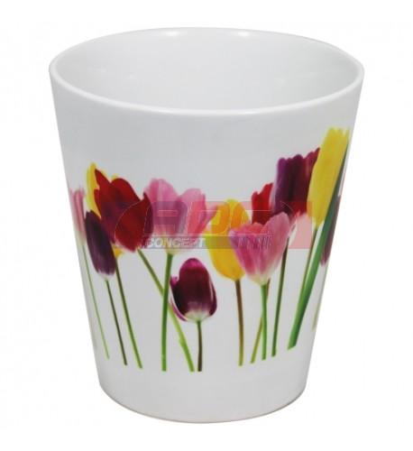 Pot de fleur conique en céramique traité polyester H 12,2 cm