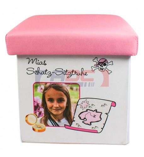 Pouf de rangement pliable pour enfant 22 x 22 x 24 cm avec couvercle rose