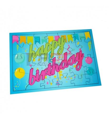 Puzzle MDF blanc brillant Happy Birthday 25 x 17,5 cm - 24 pièces