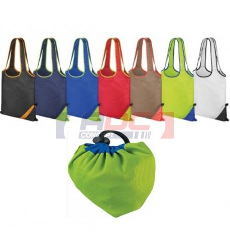 "Sac shopping ""Compact"" bicolore repliable dans une poche - 7 coloris"