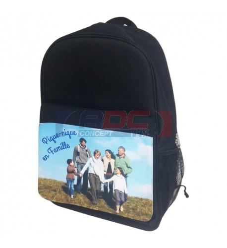 Sac à dos noir 30 x 45 x 17 cm avec rabat détachable capitonné et imperméable