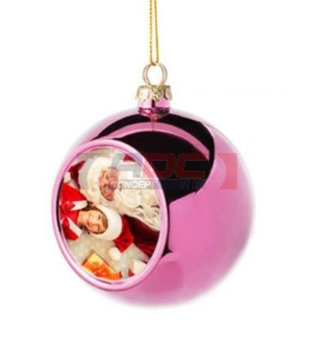 Boule de Noël Ø6 cm coloris rose à suspendre avec plaque sublimable