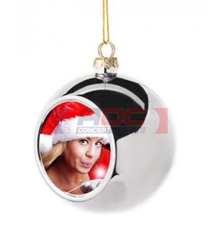 Boule de Noël Ø6 cm coloris argent à suspendre avec plaque sublimable