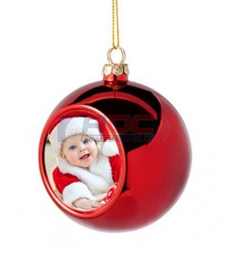 Boule de Noël Ø6 cm coloris rouge à suspendre avec plaque sublimable