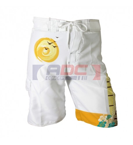 Short de plage blanc 100% polyester 180 gr/m²