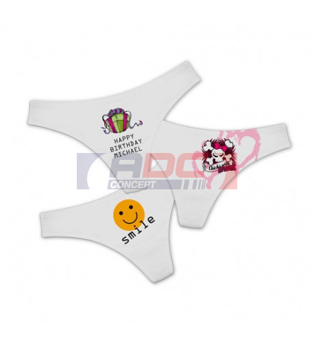 String-Tanga blanc 100% polyester avec fond coton - 4 tailles