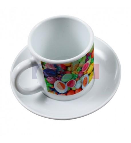 Tasse à café + soucoupe en polymère (plastique) incassable