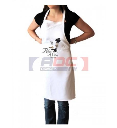 Tablier de cuisine blanc 270 gr/m² - 60 x 85 cm - 70 x 95 cm (vendu à l'unité)