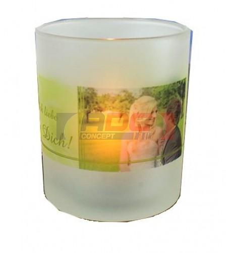 Bougeoir en verre givré pour bougie Ø 7 cm H 8 cm