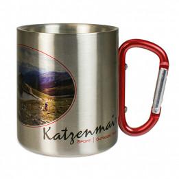 Mug en inox Ø 7 cm hauteur 8 cm avec mousqueton rouge (vendu à l'unité)