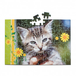 Puzzle blanc brillant cartonné sans cadre 19 x 28 cm épaisseur 2 mm - 96 pièces