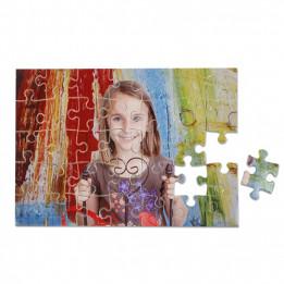 Puzzle blanc brillant cartonné sans cadre 19 x 28 cm épaisseur 2 mm - 35 pièces
