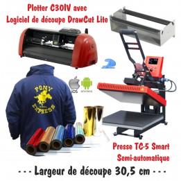 Atelier Textile C30IV avec presse semi automatique TC-5 Smart Bluetooth 38 x 38 cm