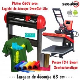 Atelier Textile C60V avec presse semi automatique TC-5 Smart Bluetooth 38 x 38 cm