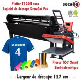 Atelier Textile Pro T120II avec presse semi automatique TC-7 Smart Bluetooth 40 x 50 cm