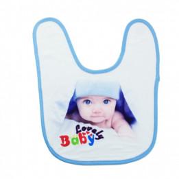 Bavoir bébé doublure éponge 36 x 27 cm bordure bleue (vendu à l'unité)