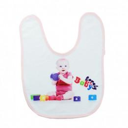 Bavoir bébé doublure éponge 36 x 27 cm bordure rose (vendu à l'unité)