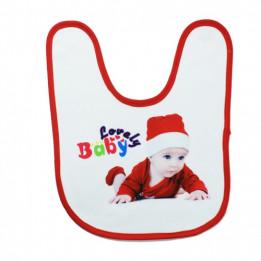 Bavoir bébé doublure éponge 36 x 27 cm bordure rouge (vendu à l'unité)