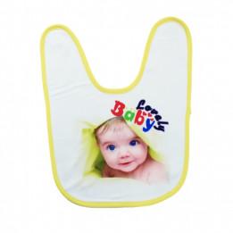 Bavoir bébé doublure éponge 36 x 27 cm bordure jaune (vendu à l'unité)