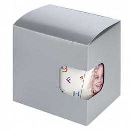 Boîte cadeau argentée avec fond à pliage automatique et fenêtre de visualisation 9,5 x 9 x 11 cm