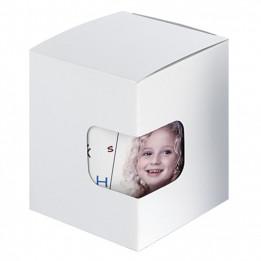 Boîte cadeau blanche avec fond à pliage automatique et fenêtre de visualisation 9,5 x 9 x 11 cm