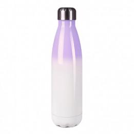 Bouteille isotherme en inox Pourpre/blanc 500 ml et bouchon étanche (vendu à l'unité)