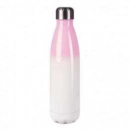 Bouteille isotherme en inox Rose/blanc 500 ml et bouchon étanche (vendu à l'unité)