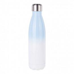 Bouteille isotherme en inox Bleu ciel/blanc 500 ml et bouchon étanche (vendu à l'unité)