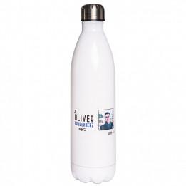 Bouteille isotherme en inox blanc fond blanc 750 ml et bouchon étanche (vendu à l'unité)