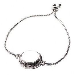Bracelet ajustable en métal argenté 18 cm avec plaque aluminium Ø 18 mm (vendu à l'unité)