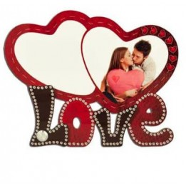 Cadre photo LOVE en MDF 17,3 x 13,7 cm double coeur pour sublimation (vendu à l'unité)