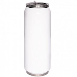 Canette isotherme en acier inoxydable blanc 380 ml embout pliable et paille intégrée (vendu à l'unité)