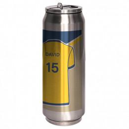 Canette isotherme en acier inoxydable argent 380 ml embout pliable et paille intégrée (vendu à l'unité)