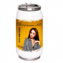 Canette isotherme en acier inoxydable blanc 250 ml embout pliable et paille intégrée (vendu à l'unité)