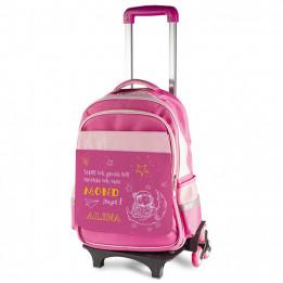 Chariot pour enfant avec sac à dos amovible rose (vendu à l'unité)