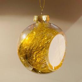 Boule de Noël en plastique Ø 8 cm aux cheveux d'anges dorés (vendu à l'unité)