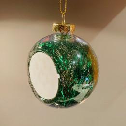 Boule de Noël en plastique Ø 8 cm aux cheveux d'anges verts (vendu à l'unité)