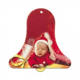 Ornement forme cloche de Noël en feutrine 8 x 8 cm (vendu à l'unité)