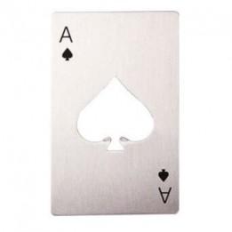 Décapsuleur en métal argenté format carte de poker (vendu à l'unité)