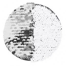 Ecusson thermocollant argent à sequins réversibles blancs forme rond Ø 10 cm (vendu à l'unité)